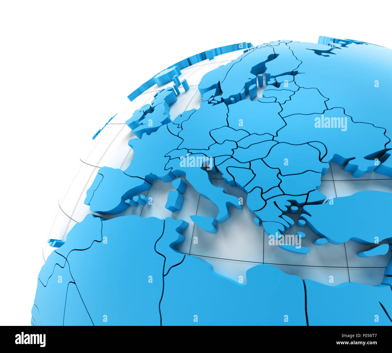 Globe of Europe with national borders - Stock Image