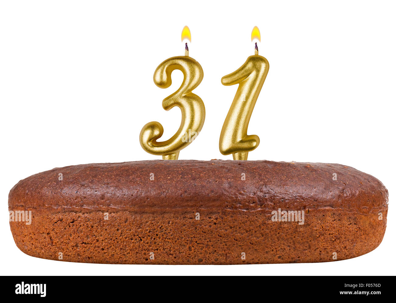 Birthday Cake With Candles Number 31 Isolated On White Background