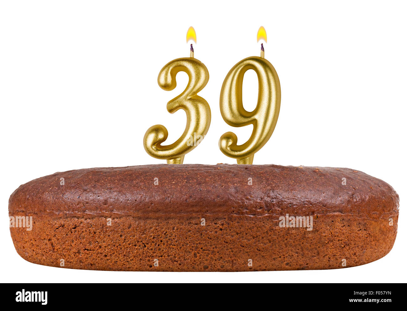 Birthday Cake With Candles Number 39 Isolated On White Background