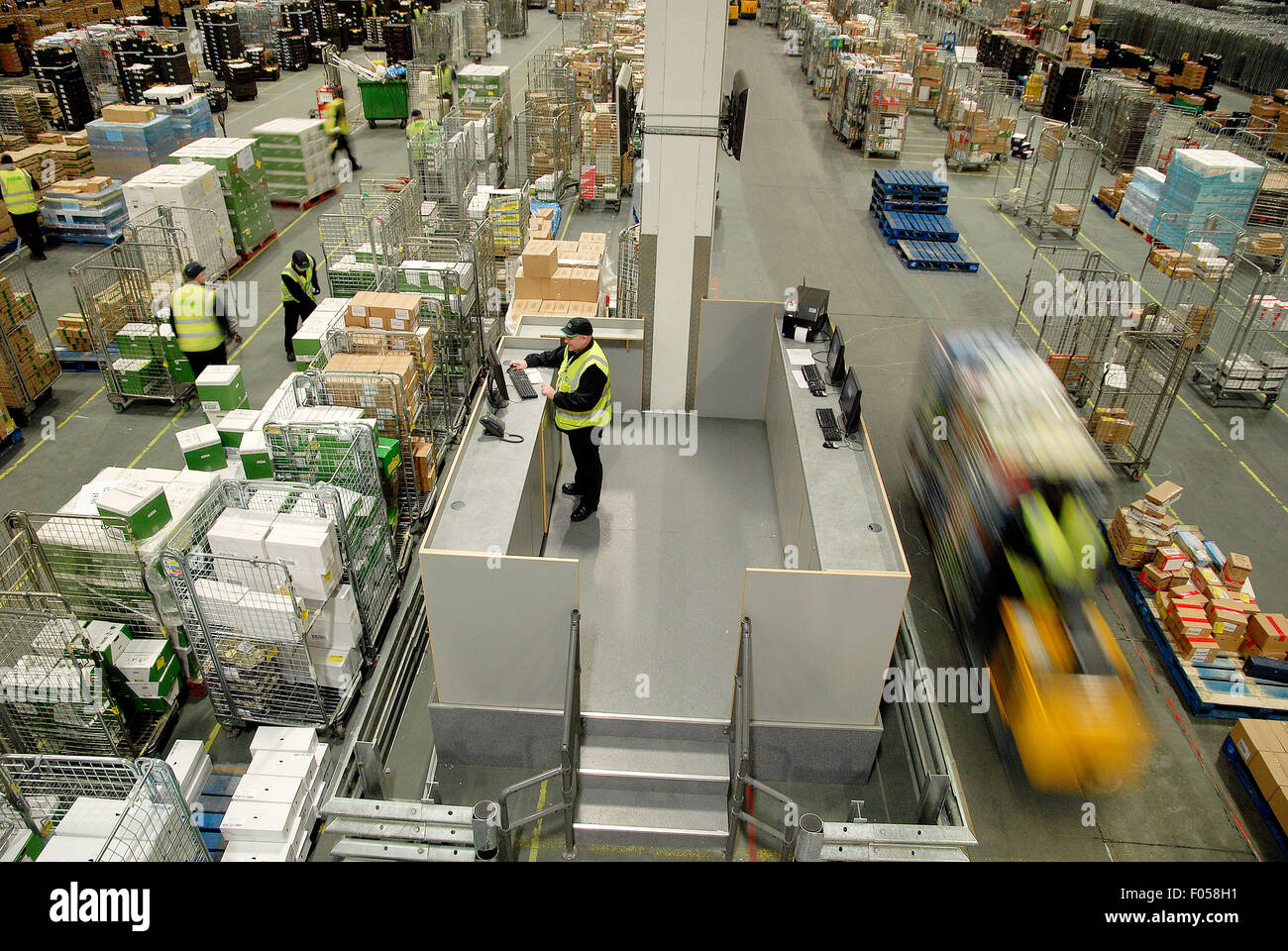 aerial view of chill room at Asda depot - Stock Image