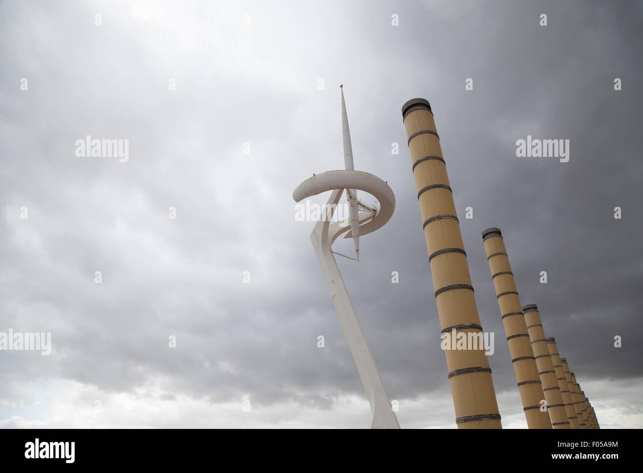 Barcelona Communication Tower on Mont Juic - Stock Image