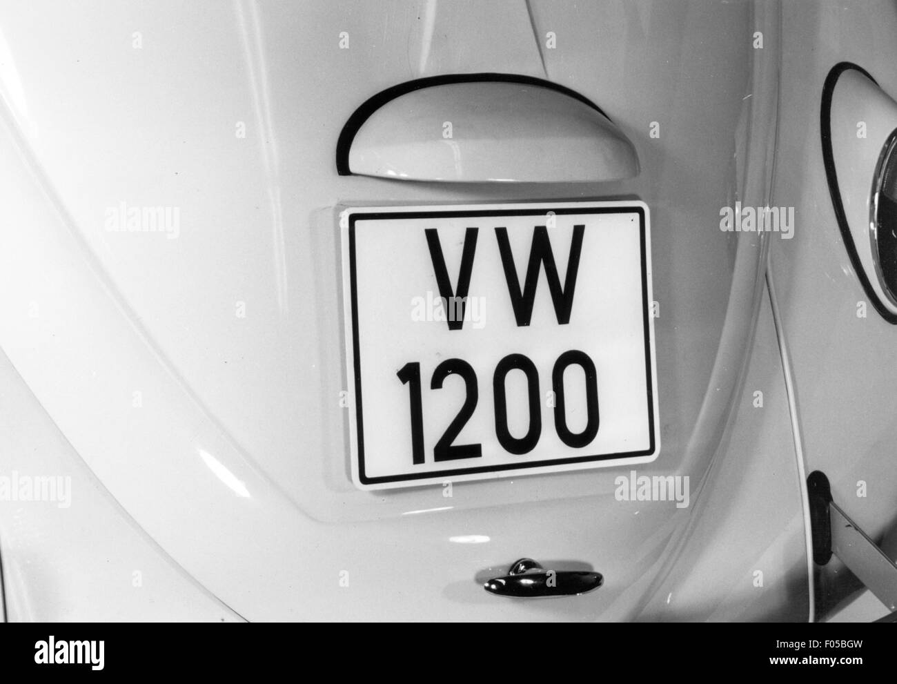transport / transportation, car, vehicle variants, Volkswagen, VW Beetle 1200, details, number plate at rear, above Stock Photo