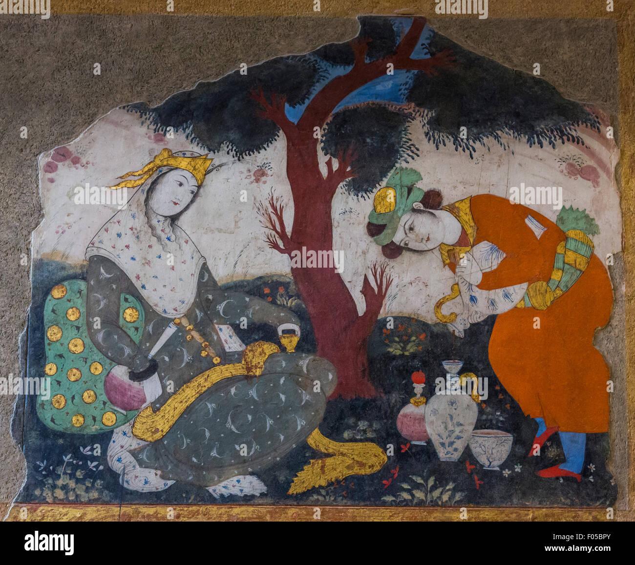 painting in main hall, Chehel Sutun Palace, Isfahan, Iran Stock Photo