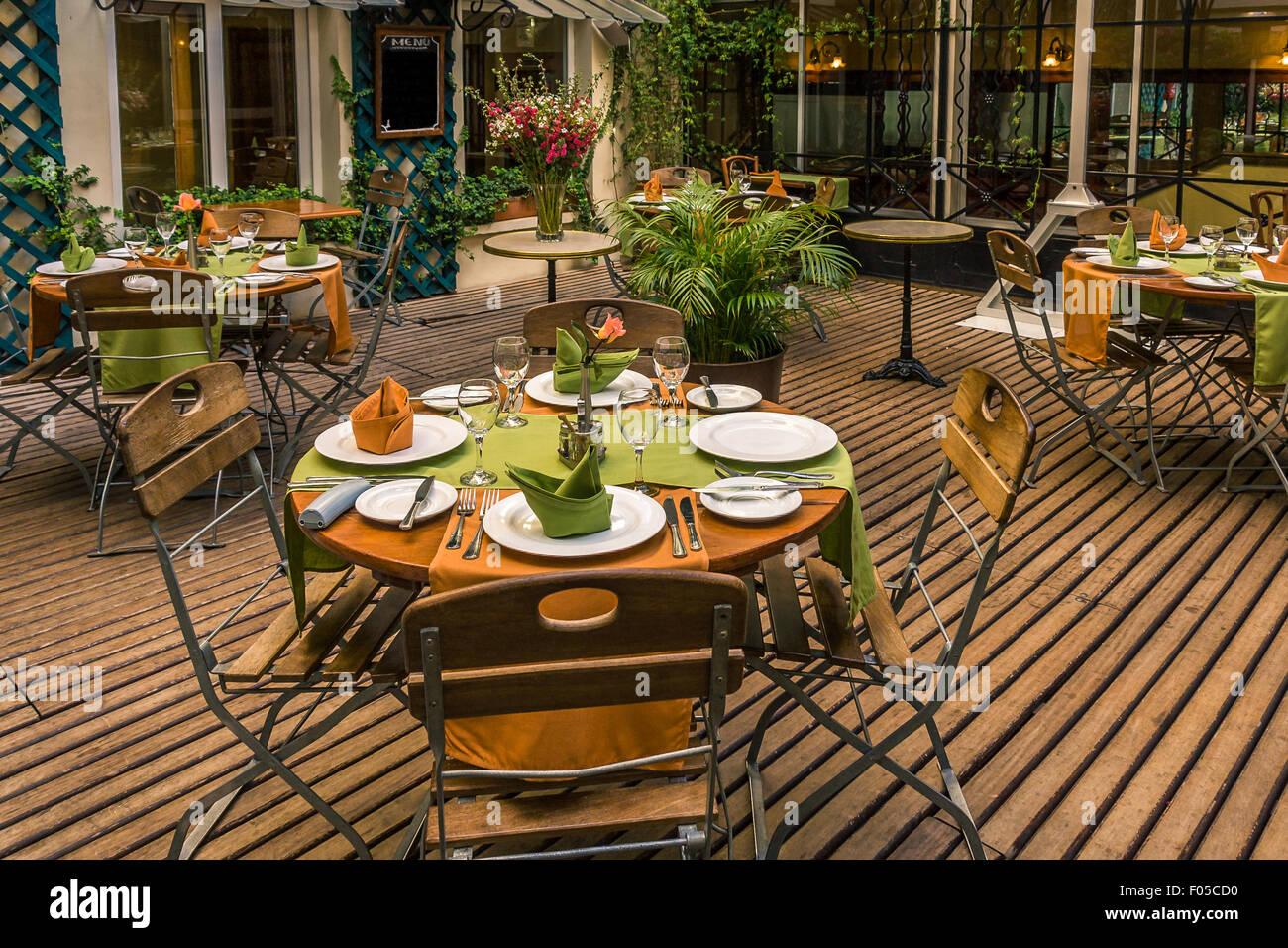 Outdoor Terrace Of A Cozy Restaurant Stock Photo Alamy