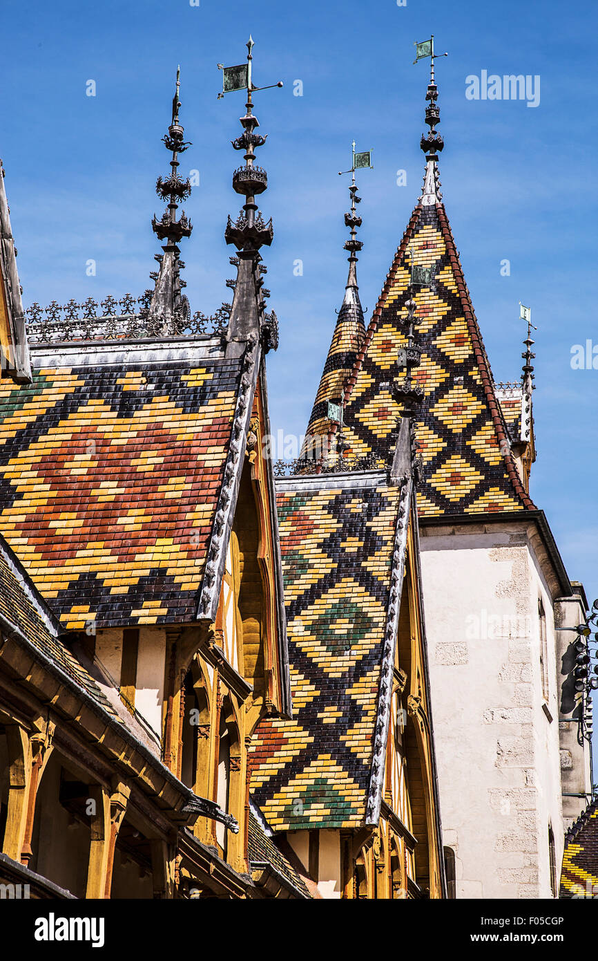 A medieval hospital in the town of Beaune, France, in the Burgundy region, the Hotel-Dieu is now a museum... - Stock Image