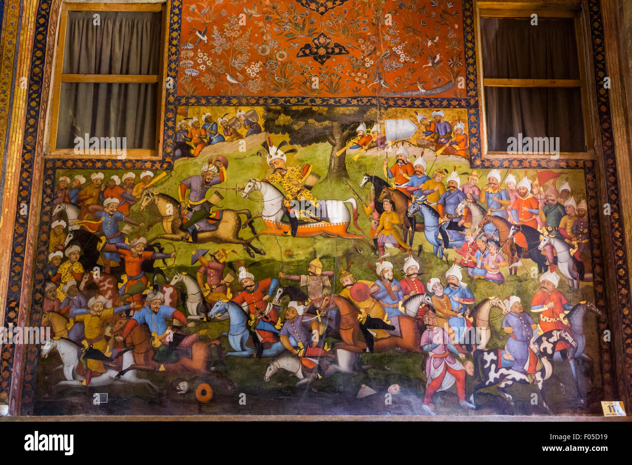 painting of the battle of Shah Isma'il and the Uzbeks, Chehel Sutun Palace, Isfahan, Iran Stock Photo