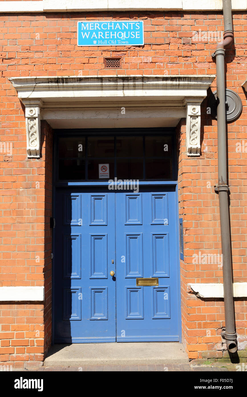 The blue door of a building at Merchants Warehouse in Hull England. It is in Hull Old Town. & The blue door of a building at Merchants Warehouse in Hull England ...