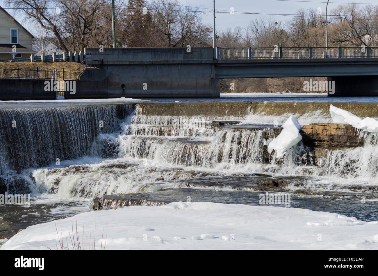 Mississippis River at Almonte, Ontario, Canada during spring run off - Stock Image