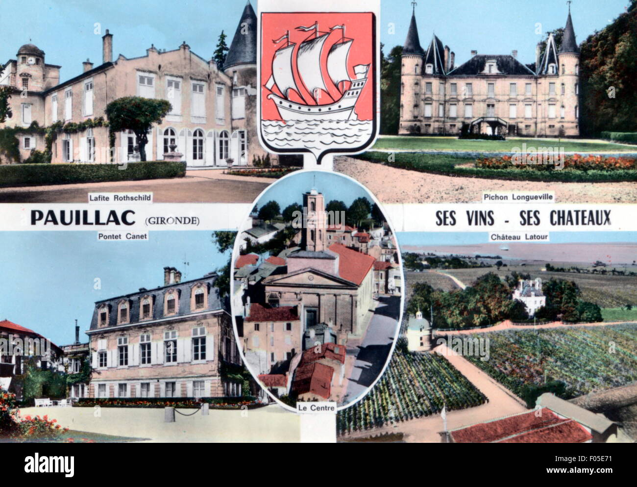 geography / travel, France, Pauillac, centre and castles Lafitte-Rothschild, Pichon-Longueville, Pontet-Canet and - Stock Image