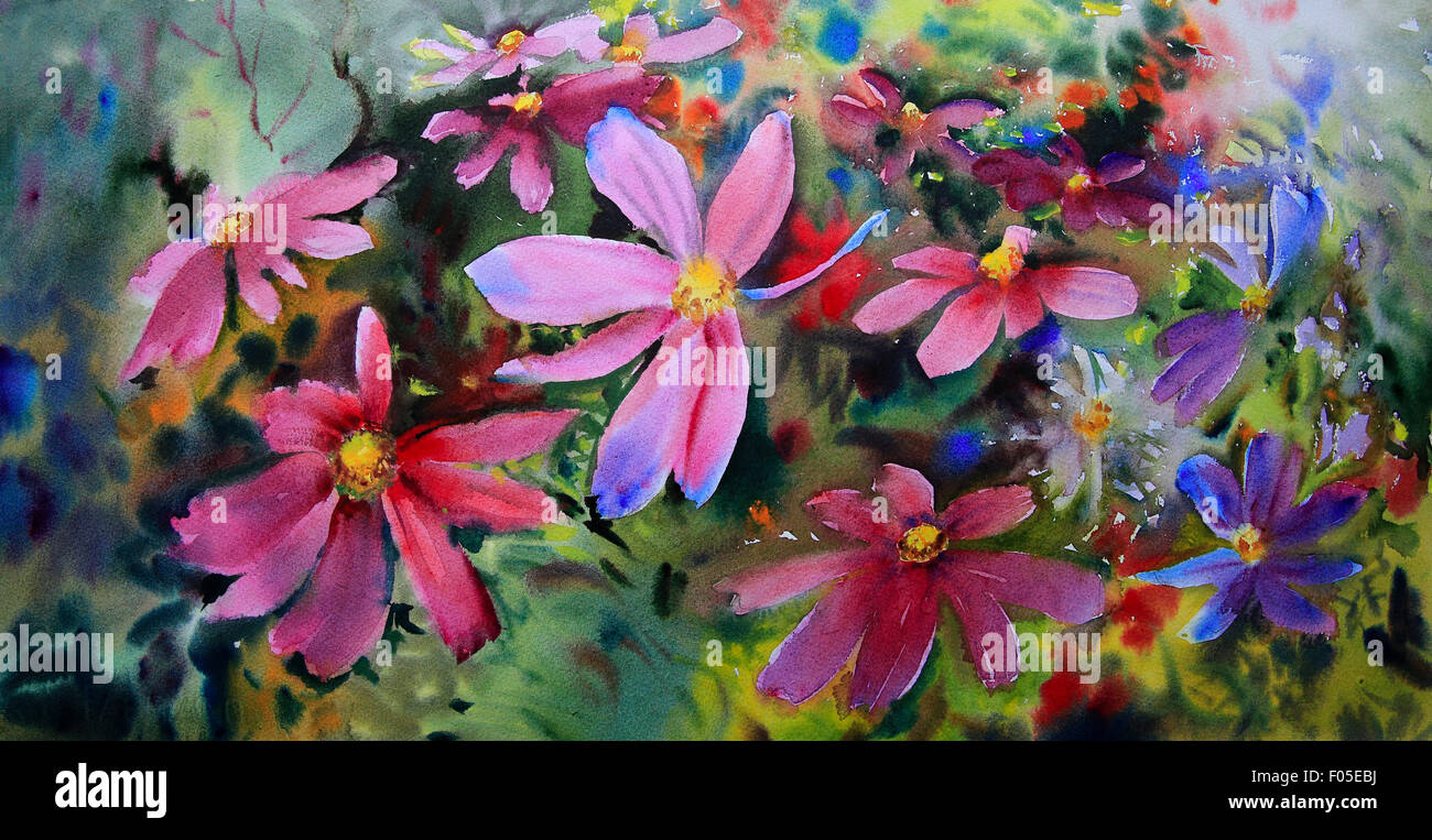 Watercolor painting of the beautiful flower appreciation stock watercolor painting of the beautiful flowers stock image izmirmasajfo