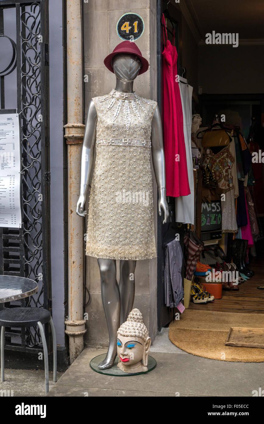 Vintage fashion on display outside a vintage clothes shop on St Stephen Street, Edinburgh, Scotland, UK. - Stock Image