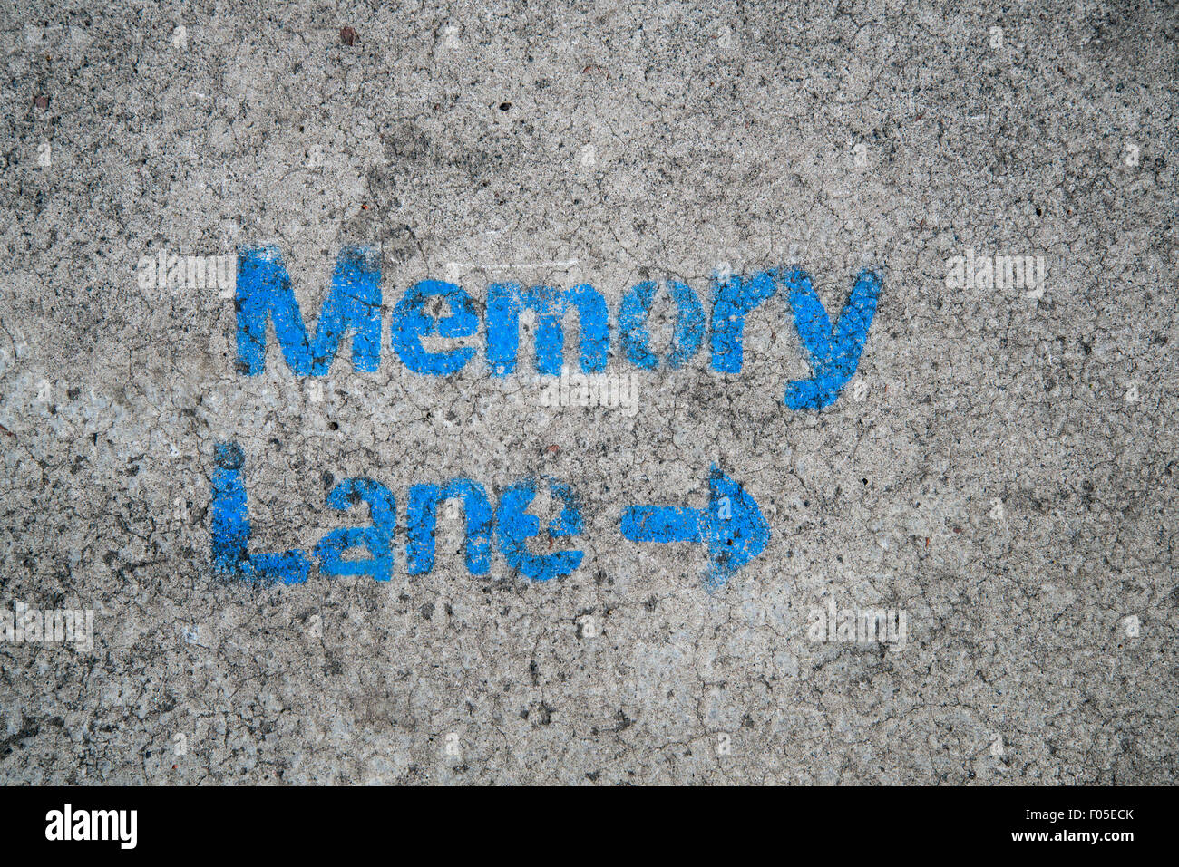 The words 'Memory Lane' stenciled on the pavement. - Stock Image