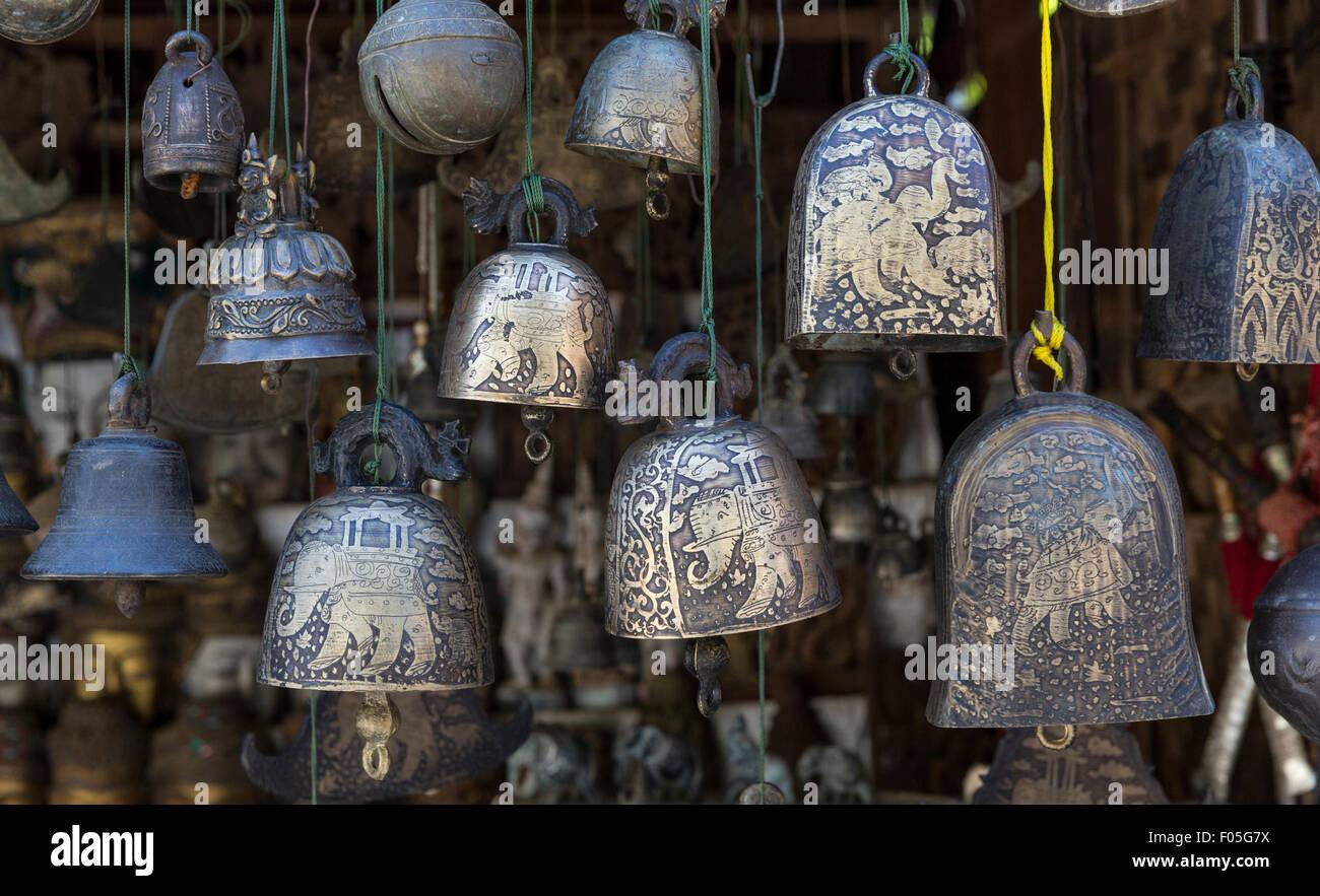 Souvenir engraved bells for sale near Htilominlo Paya, Bagan, Myanmar - Stock Image
