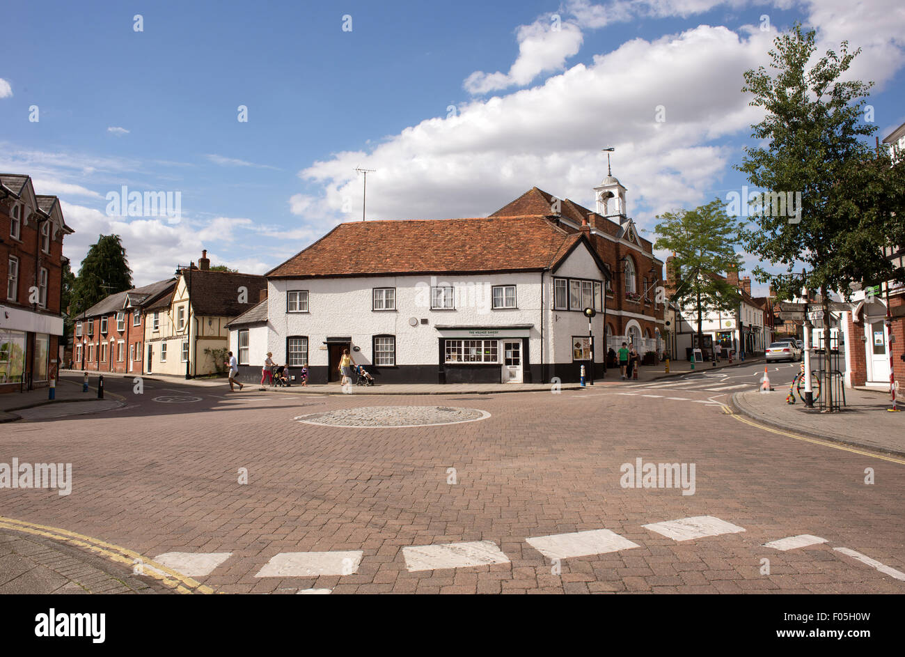Town centre of an old English town Whitchurch in north Hampshire England UK - Stock Image