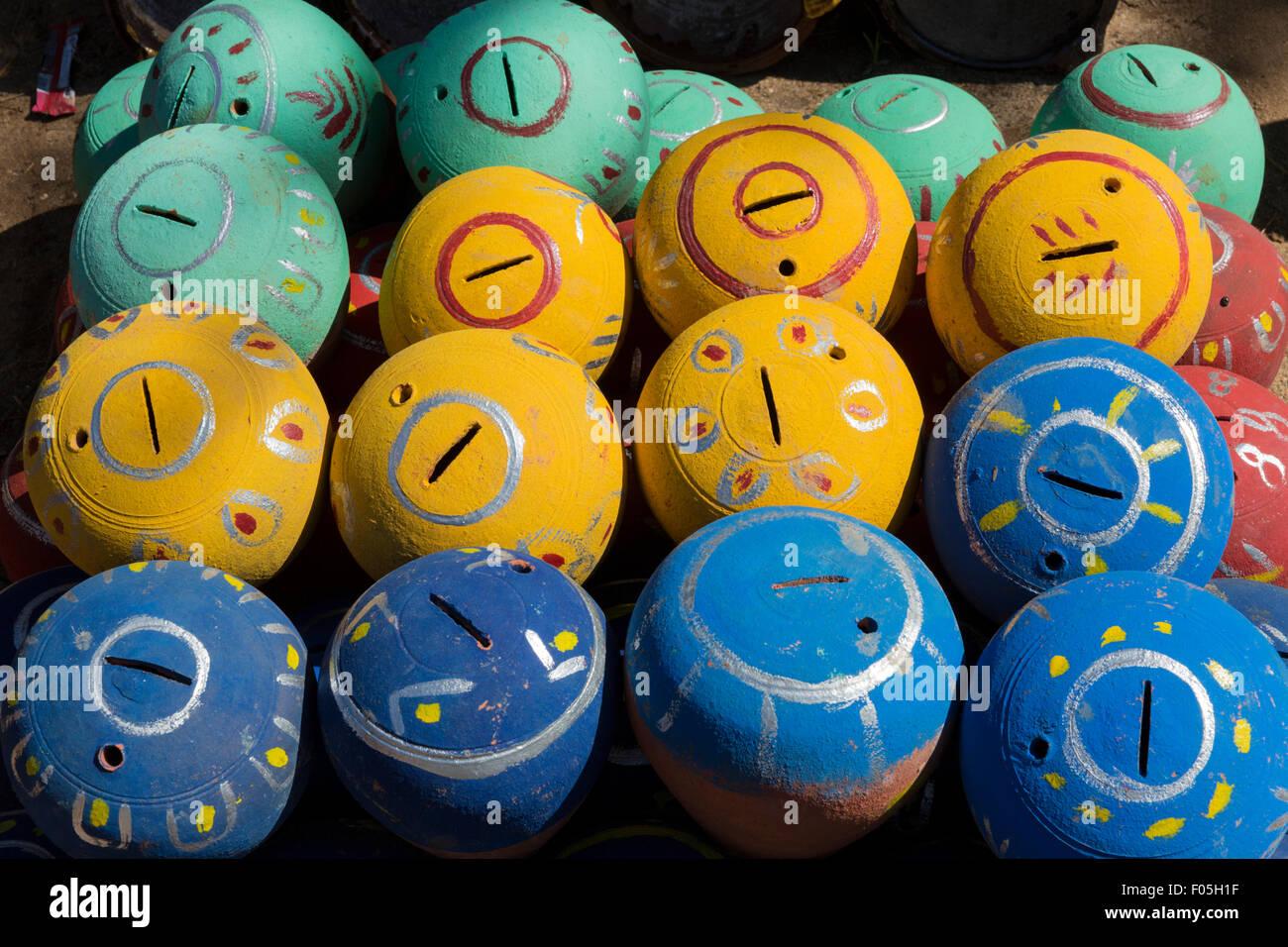 Ceramic balls, perhaps mosquito coil holders, in Nyaung U near Bagan, Myanmar - Stock Image