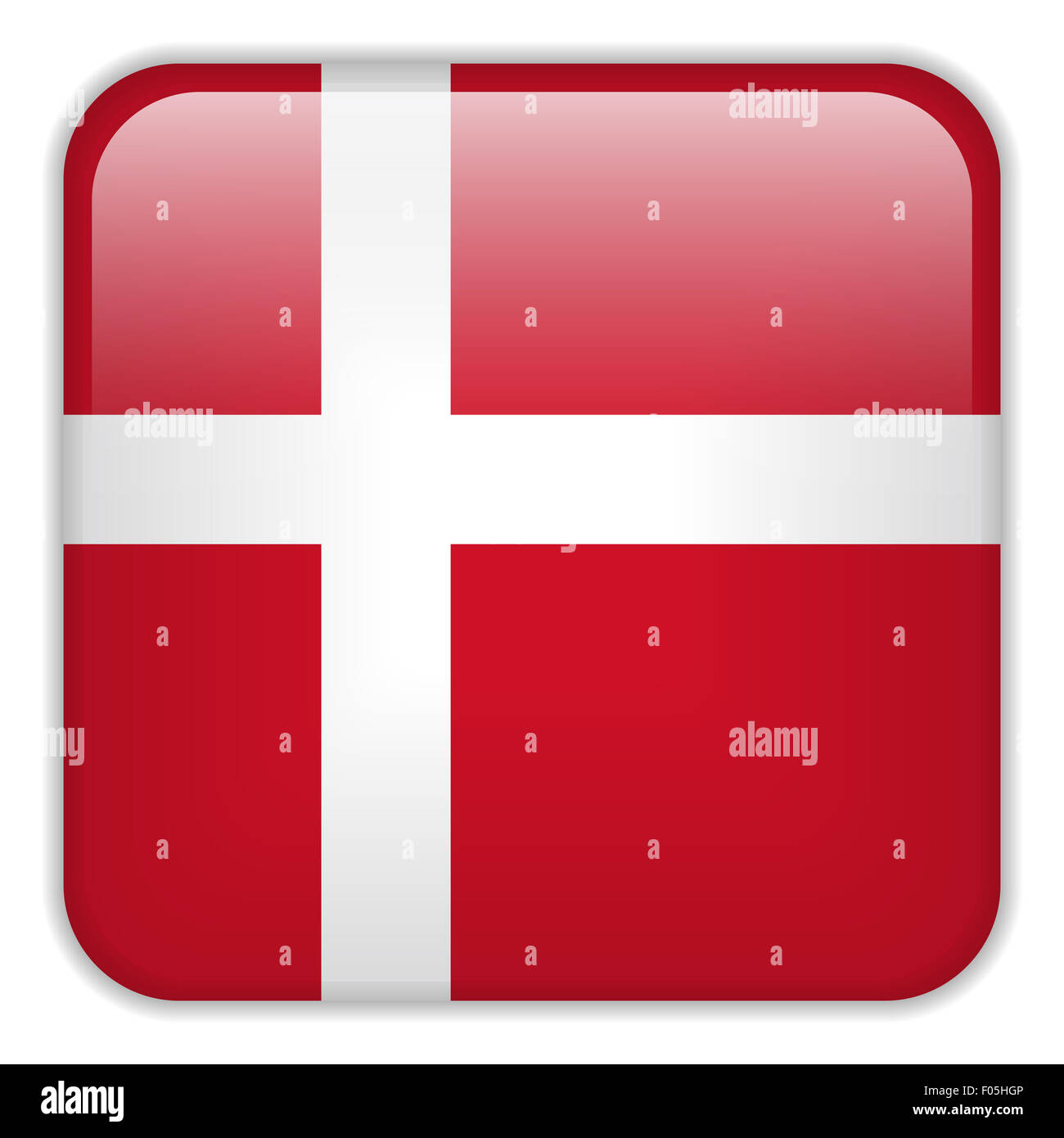 Vector - Denmark Flag Smartphone Application Square Buttons