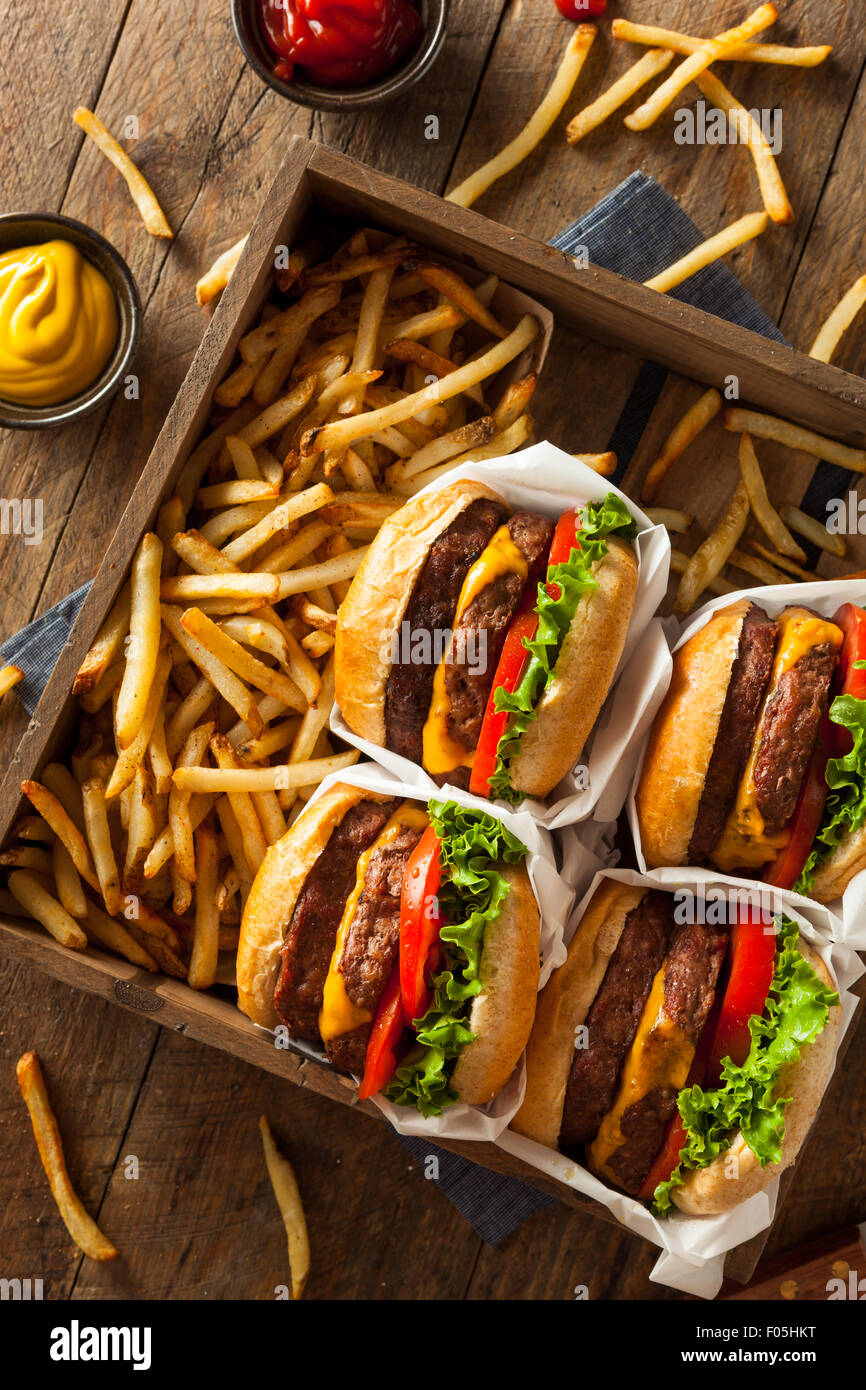 Double Cheeseburgers and French Fries in a Tray - Stock Image