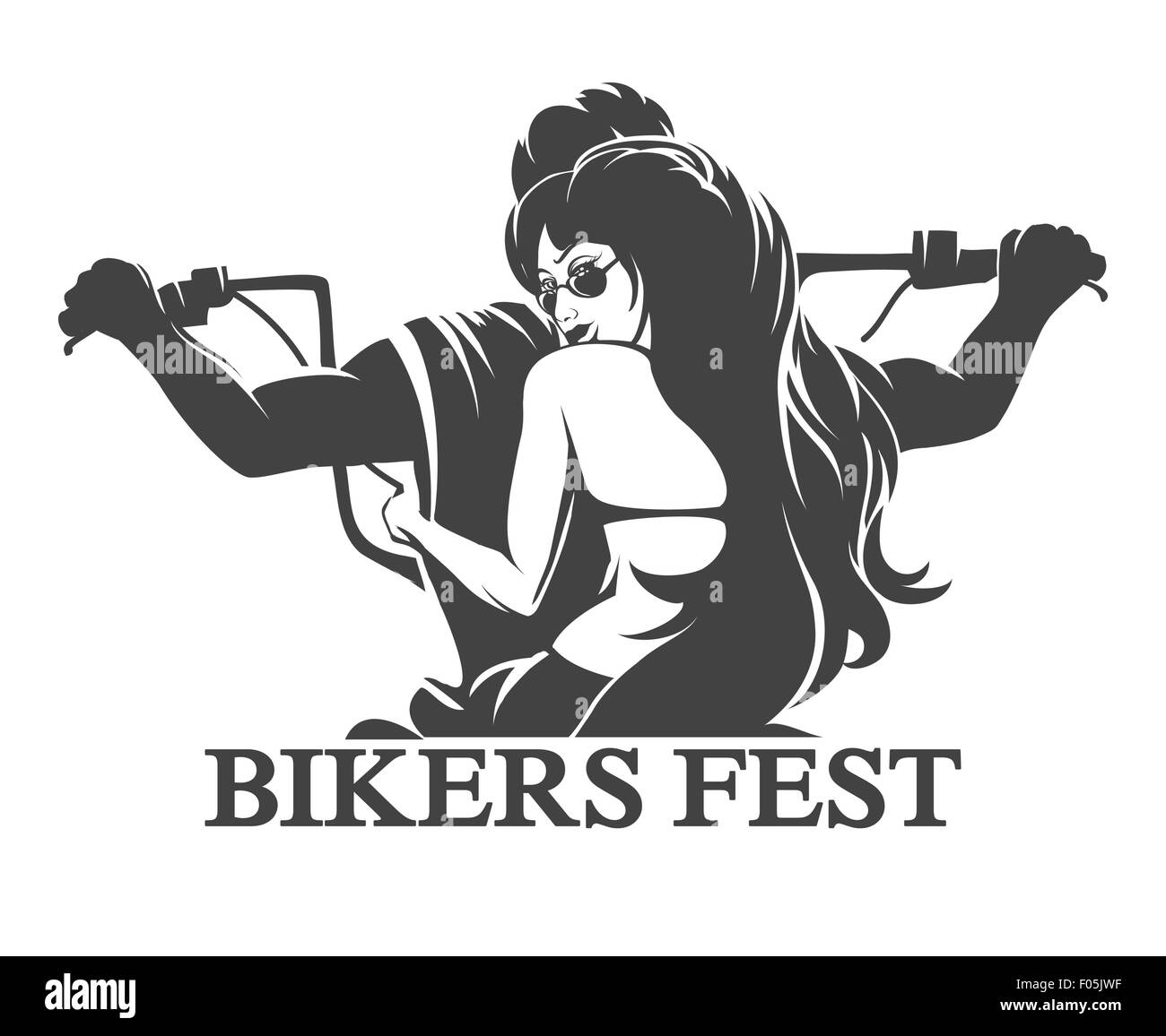 Emblem or label of Bikers Festival. Young Man and woman ride a motorcycle. Only free font used. Isolated on white - Stock Image
