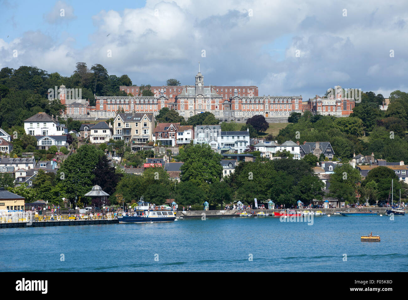 The Royal Naval College, Dartmouth, viewed across the River Dart from the Kinsgwear side Stock Photo