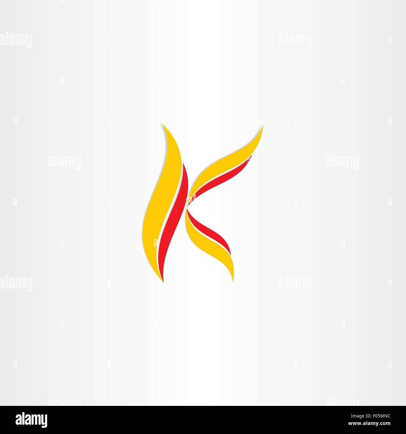 yellow red icon letter k logo design - Stock Vector