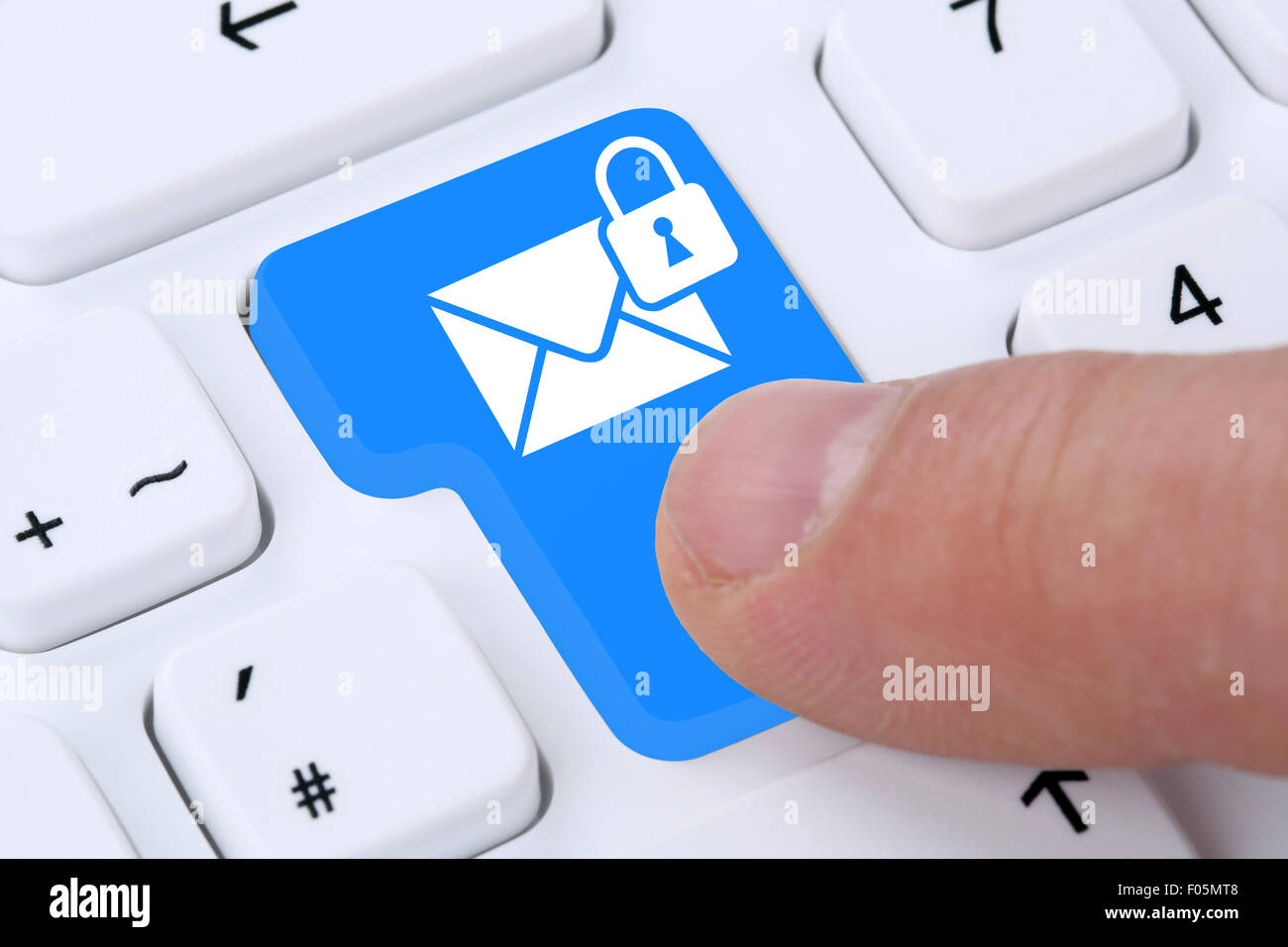 Sending encrypted secure E-Mail email mail message on computer - Stock Image