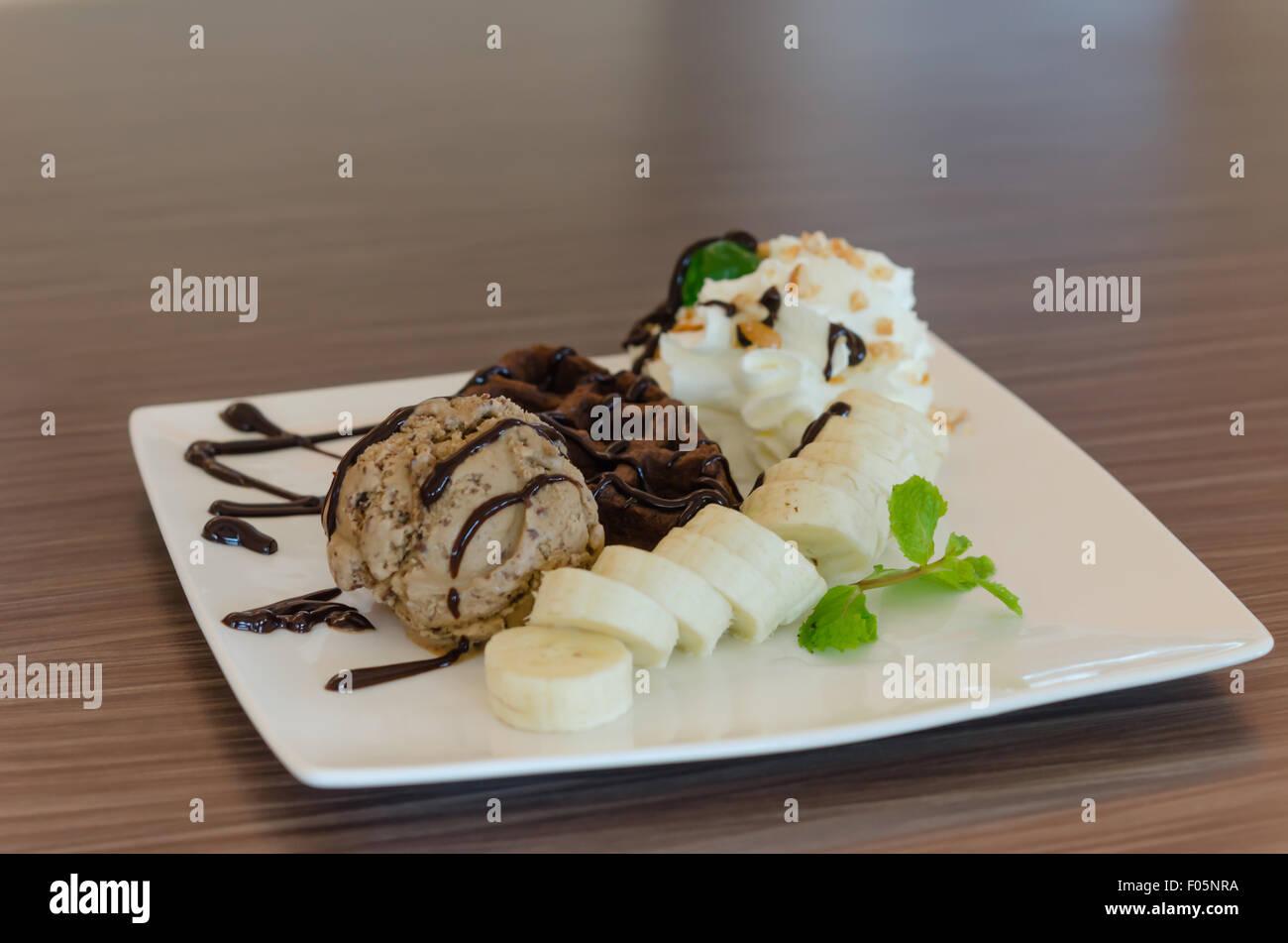 Banana Waffle Ice Cream Chocolate Stock Photos Amp Banana