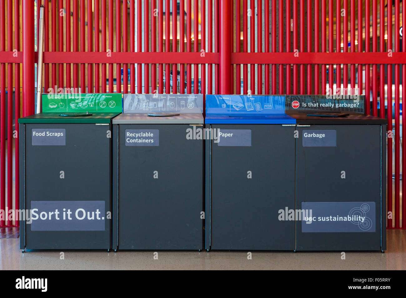 Modern recycling station in the new Student Union Building at UBC in Vancouver - Stock Image