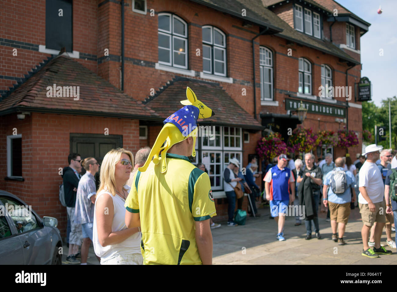 Trent Bridge, Nottingham, UK. 8th Aug, 2015.England and Australian cricket fans arriving at Trent Bridge ahead of Stock Photo