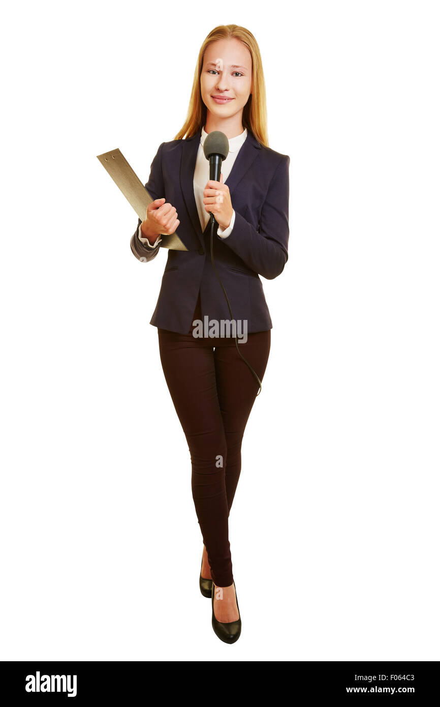 Full body shot of woman as TV reporter with microphone - Stock Image