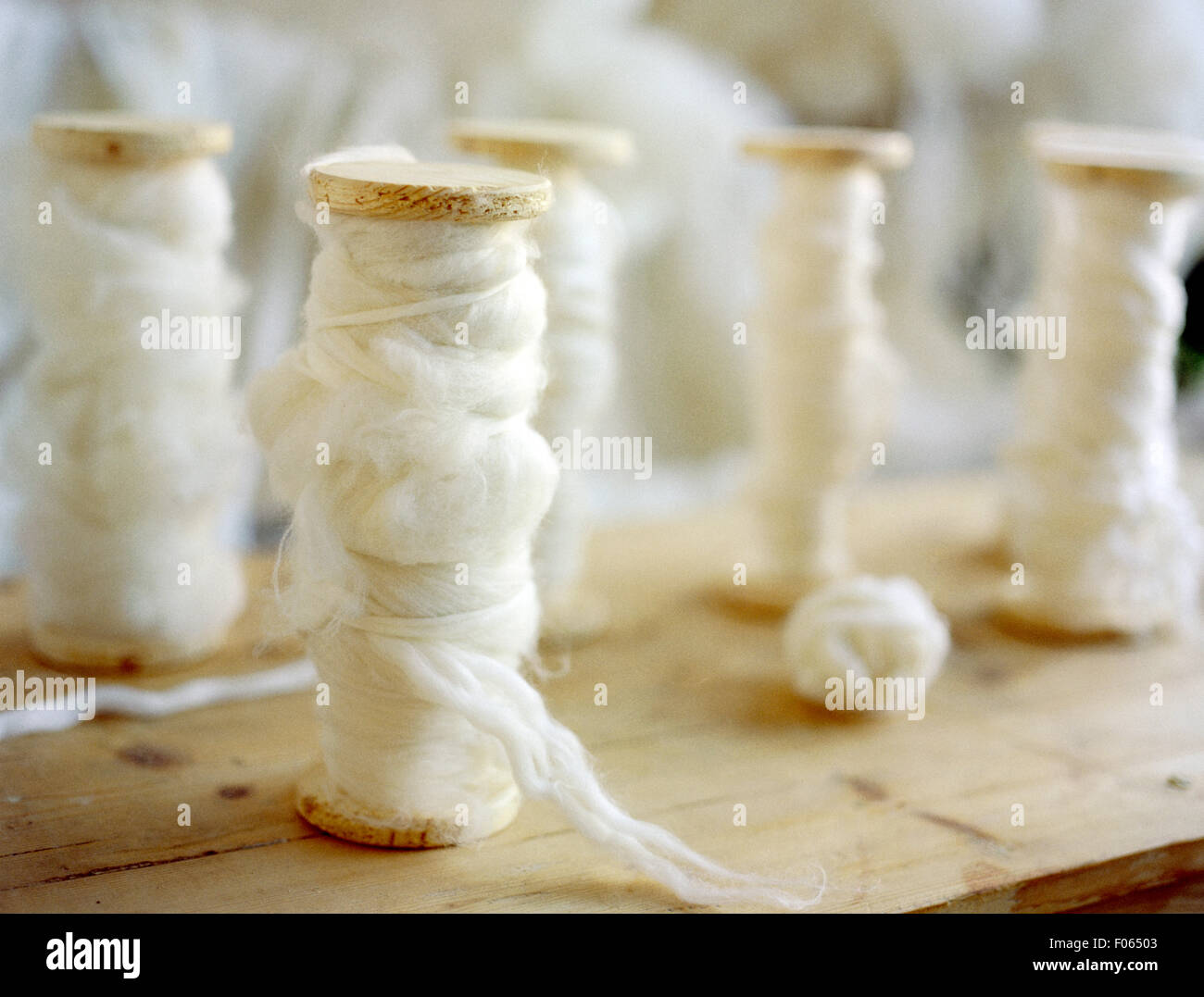 Spools of Wool - Stock Image