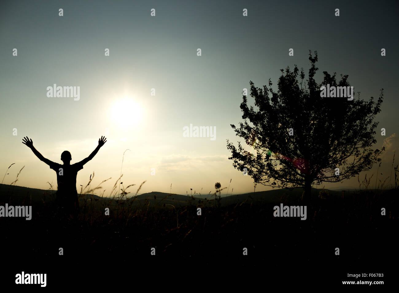 This picture is representing a person who has reached freedom in all of it's glory - Stock Image