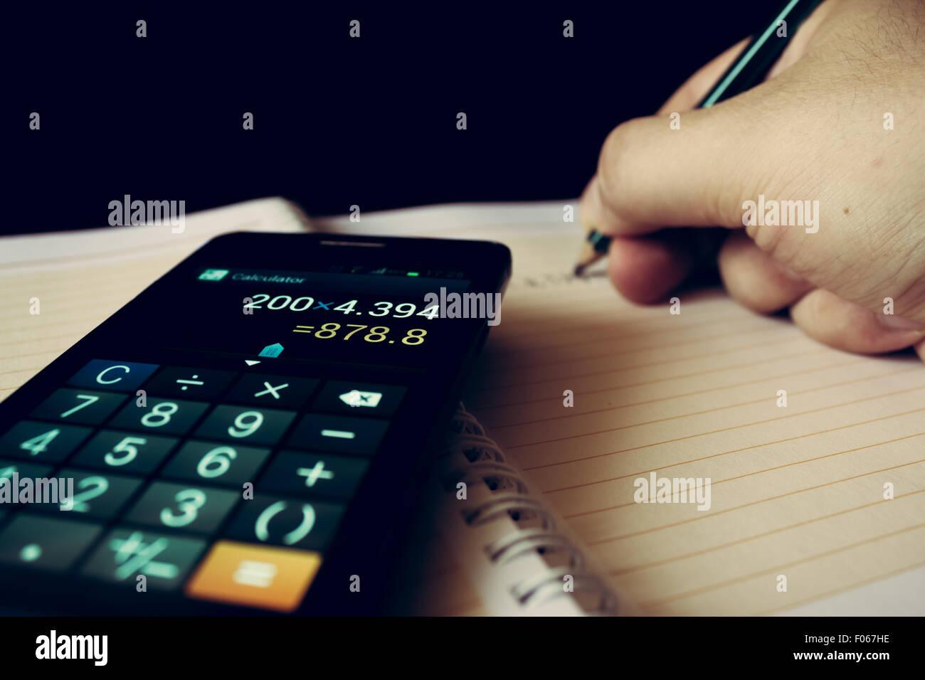 A close-up shot representing economics - Stock Image