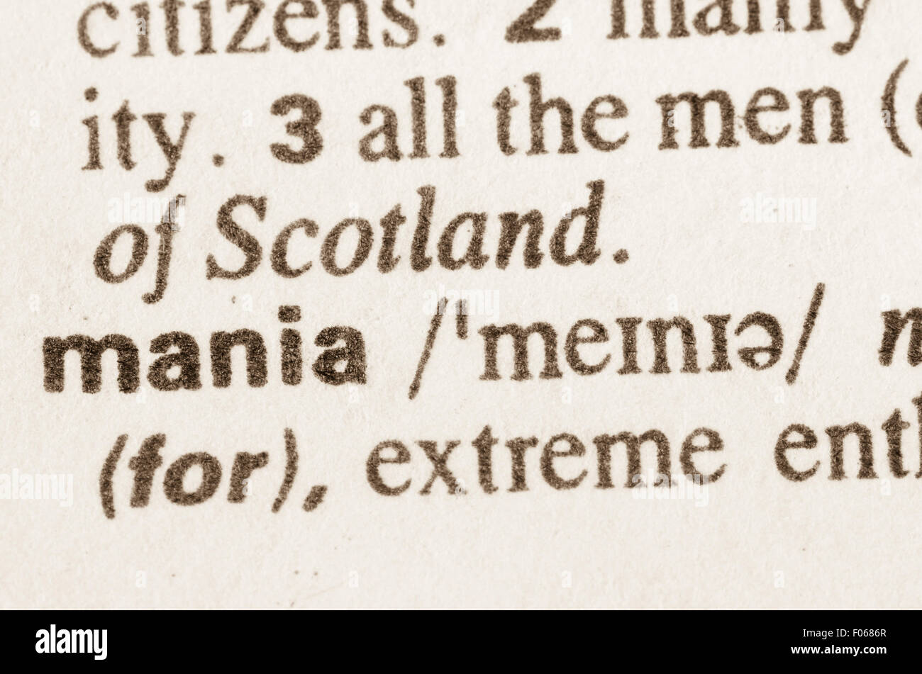 definition word mania in dictionary stock photos & definition word