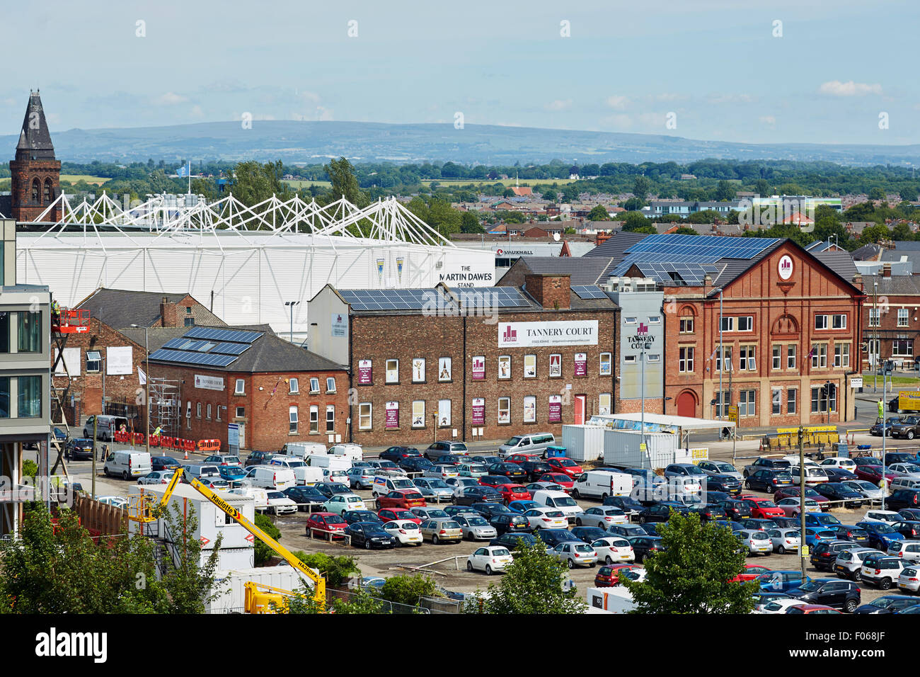 Warrington Skyline view one the shopping centre town in Cheshire uk - Stock Image
