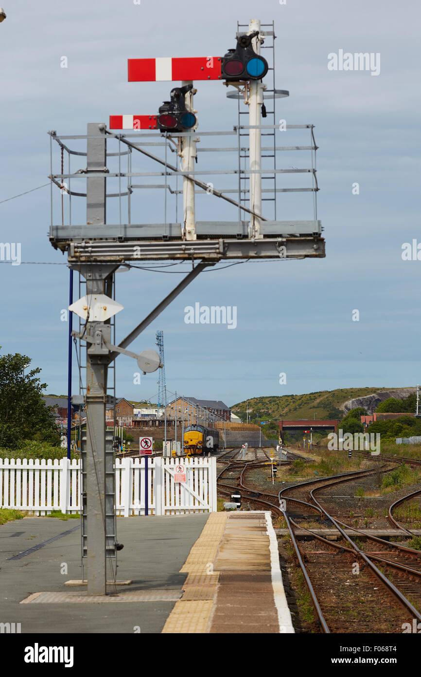 Barrow-in-Furness railway station Cumbrian coast line semaphore signals on the platform   Railways station hub central Stock Photo