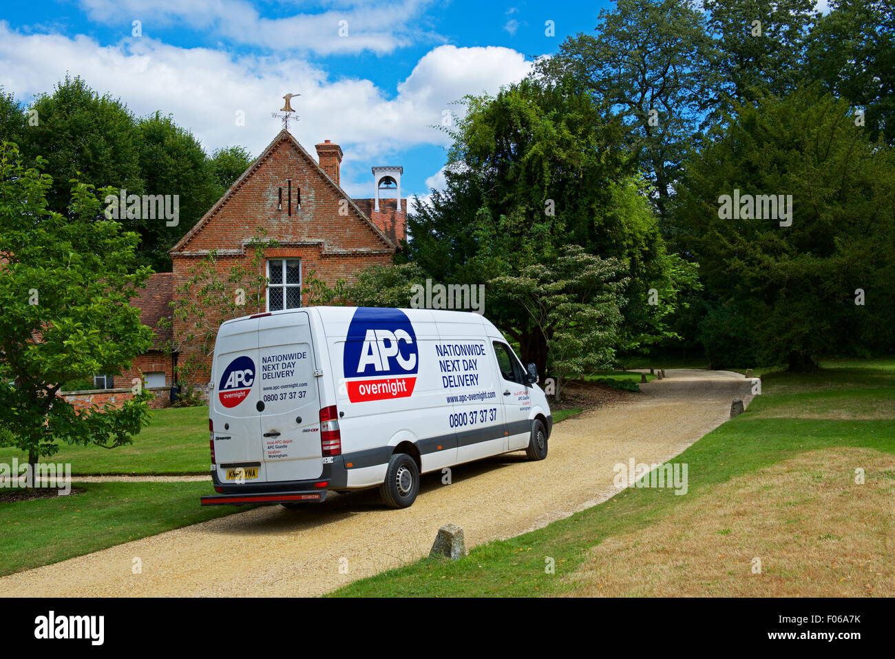 APC delivery van parked at the Vyne, a 16th century country house, looked after by the National Trust, Hampshire, - Stock Image