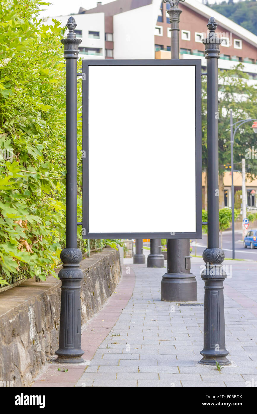 Empty billboard at city bus station - Stock Image