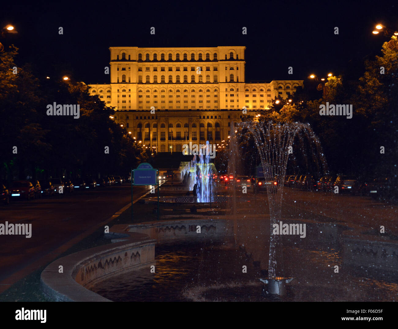 View of Romanian parliament from fountains in Unirii Boulevard, Bucharest, Romania Stock Photo