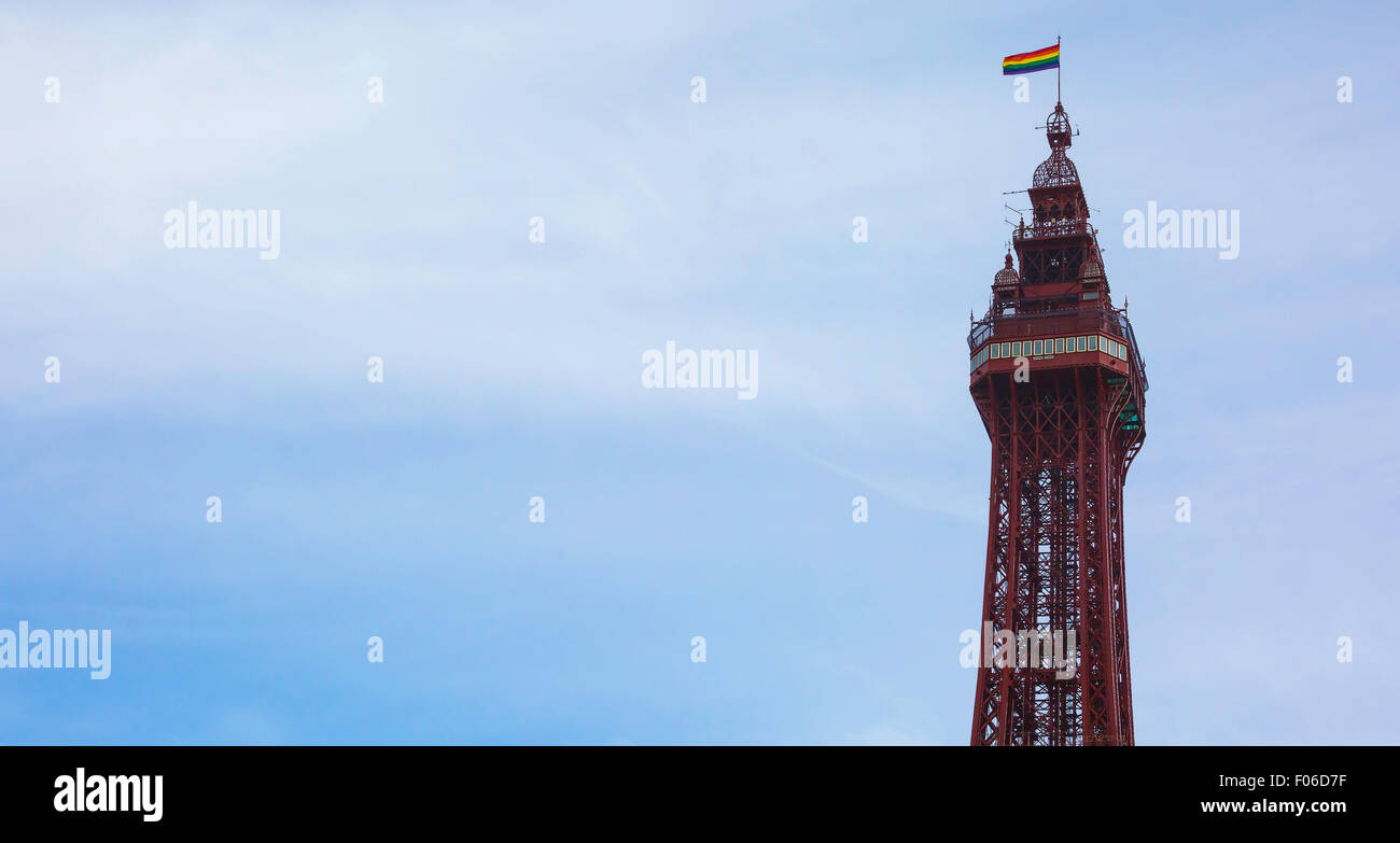 Blackpool Tower with Gay Pride flag Stock Photo