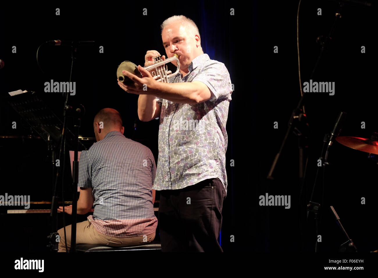Brecon, Powys, Wales - Saturday 8th August 2015 - Brecon Jazz 2015 the quartet Pigfoot performing at the Guildhall. - Stock Image