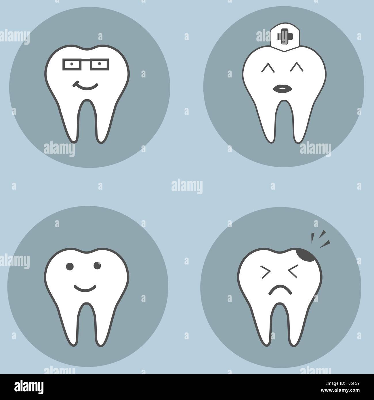 teeth cartoons set stock photos teeth cartoons set stock images