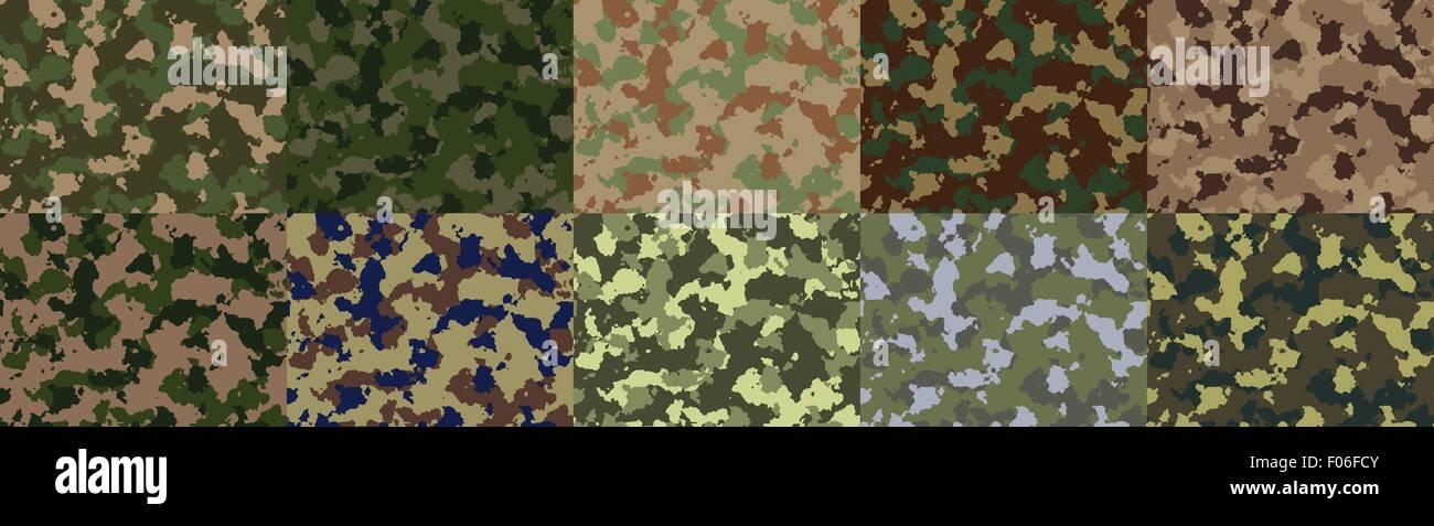 Seamless woodland camo pattern vector. - Stock Image