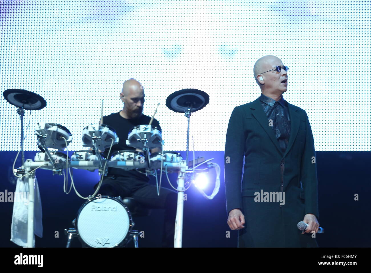 Macclesfield, Cheshire, UK. 8th August, 2015. Human League perform live at Rewind Festival North at Capesthorne - Stock Image