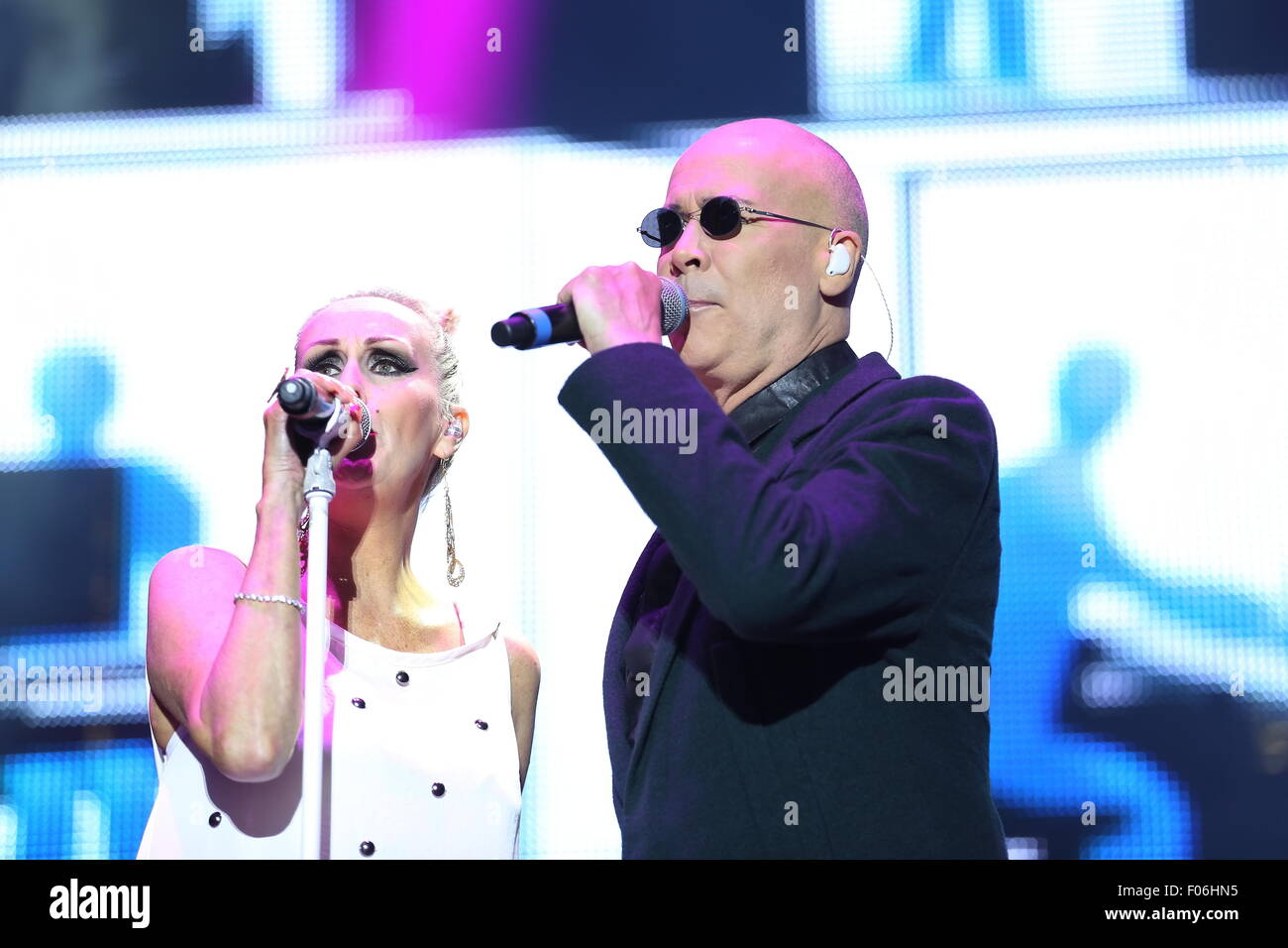Macclesfield, Cheshire, UK. 8th August, 2015. Human League perform live at Rewind Festival North at Capesthorne Stock Photo