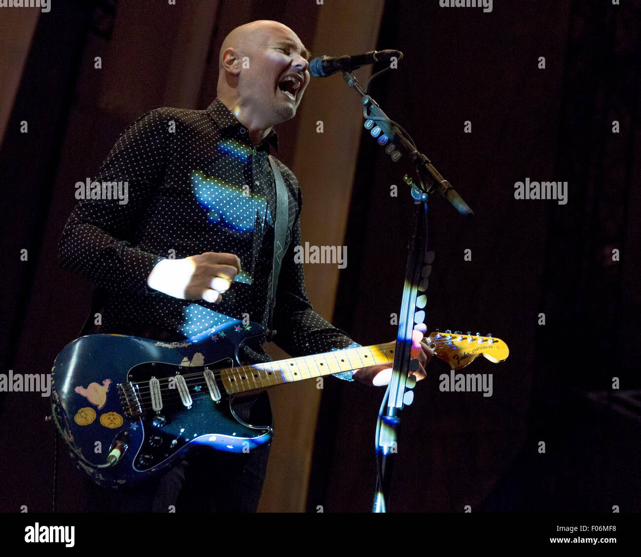 Chicago, Illinois, USA. 7th Aug, 2015. of The Smashing Pumpkins performs live at the FirstMerit Bank Pavilion on - Stock Image