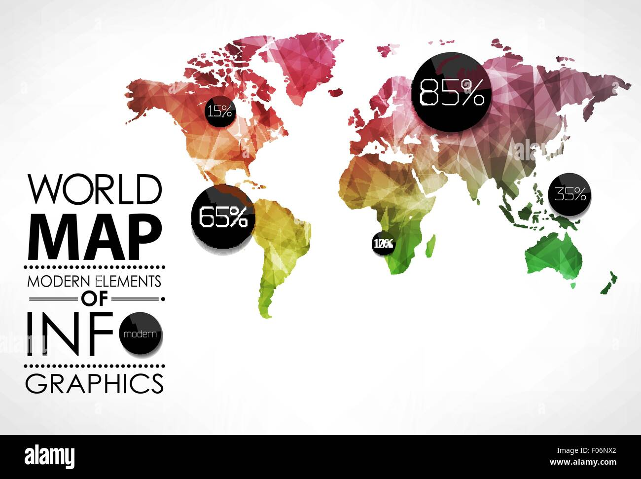World Map Infographic Template All Countries Are Selectable Stock