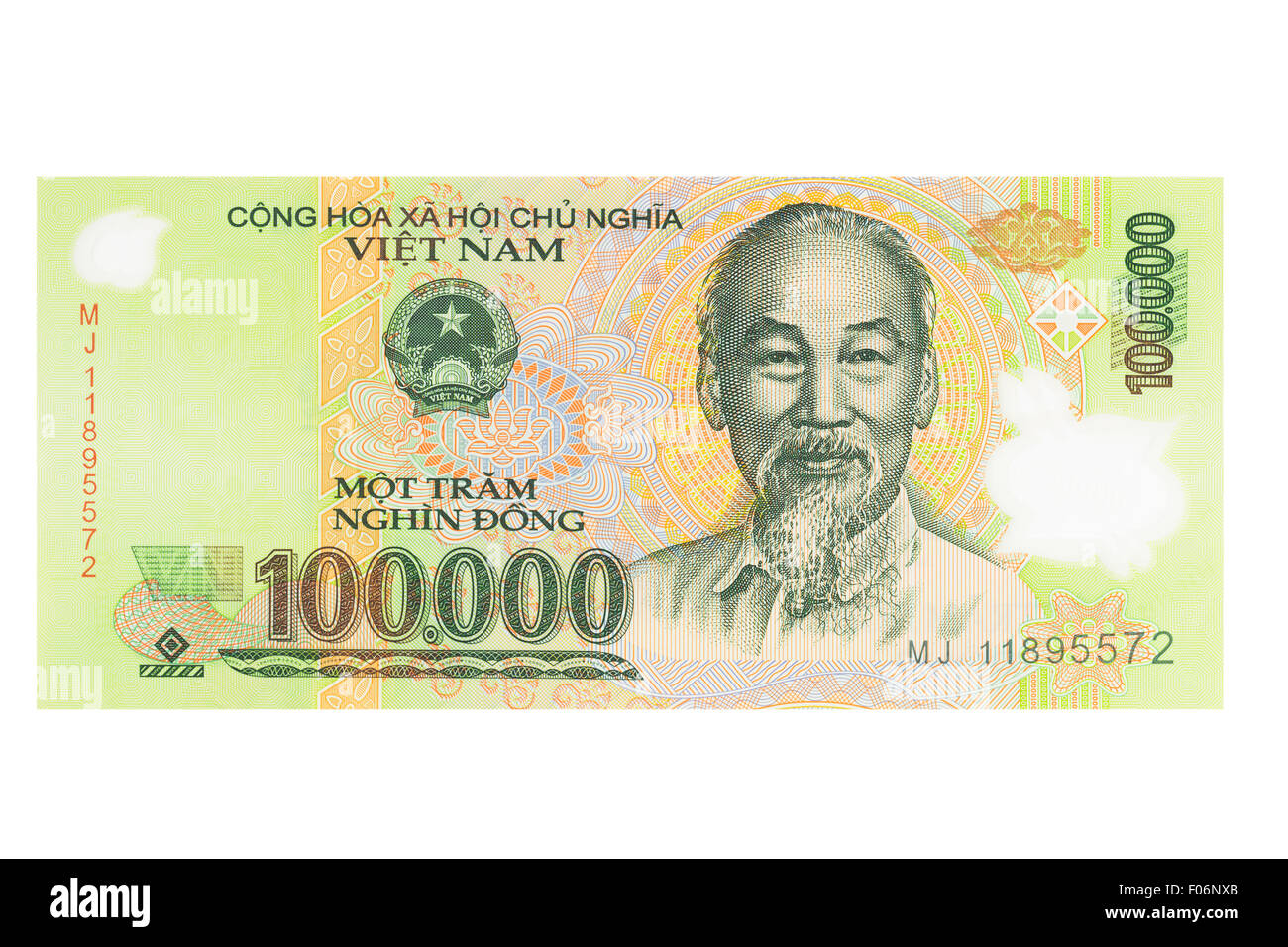 One hundred thousand vietnamese Dong banknote on a white background