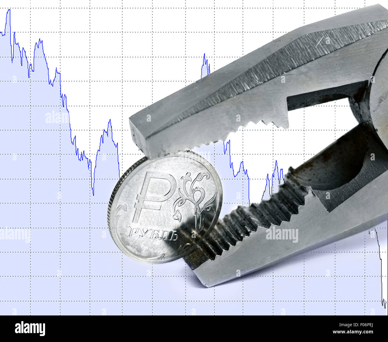 Ruble collapse crash exchange rate on international stock - Stock Image