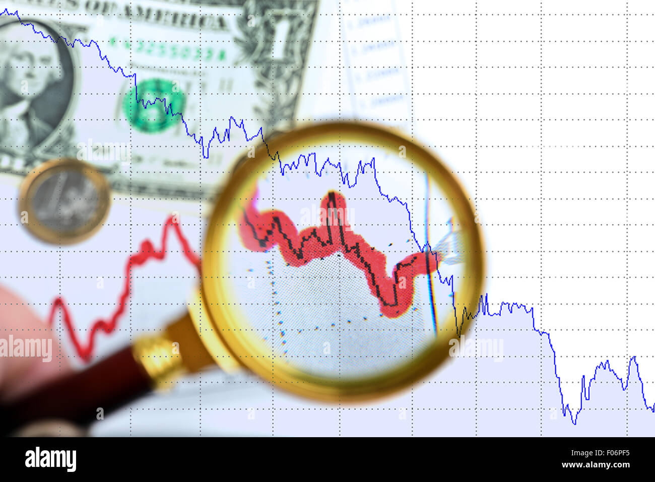 Magnifying glass on exchange chart - Stock Image