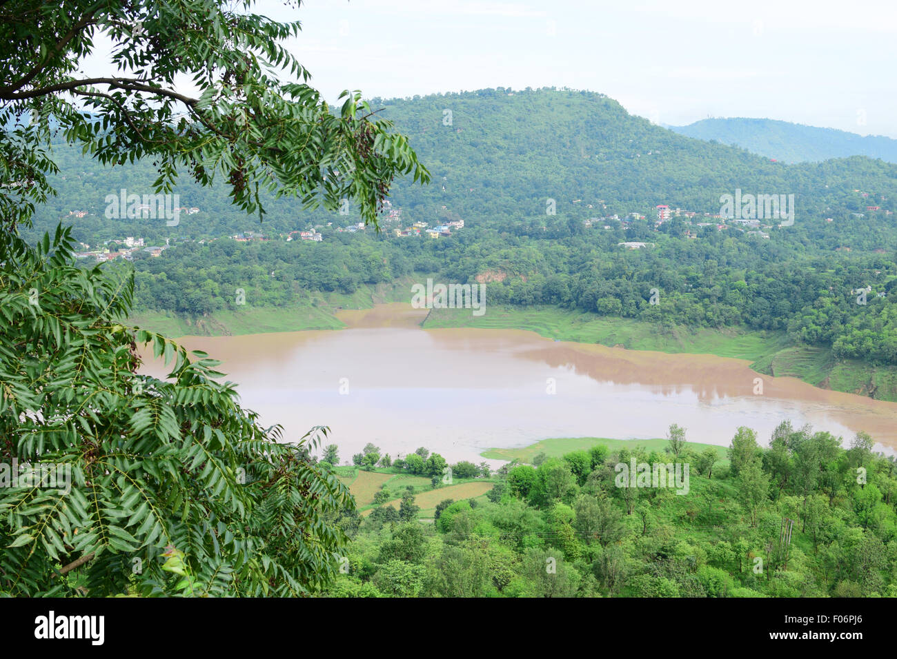 Beautiful Himachal Pradesh on the Sutlej River Valley at Bilaspur in Himachal Pradesh State of India - Stock Image